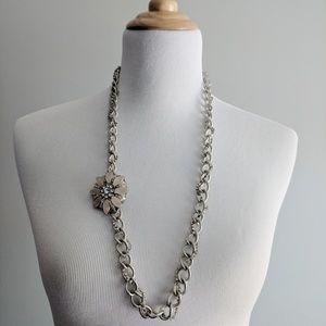 LOFT rhinestone wrapped chain necklace w/brooch